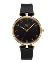 שעון לאישה עם רצועת עור שחורה