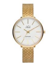 שעון יד מוזהב לאישה עם רצועת מש