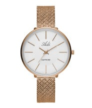 שעון יד רוזגולד לאישה עם רצועת מש