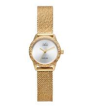 שעון נשים אלגנטי מוזהב עם זכוכית ספיר