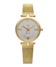 שעון נשים אלגנטי עם רצועת מש מוזהבת