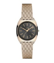 שעון יד מוזהב לאישה עם לוח שחור