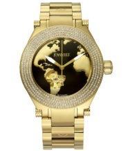 שעון אוטומטי מוזהב בשיבוץ יהלומים