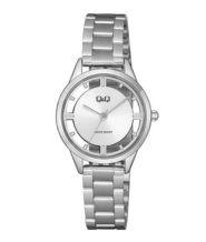 שעון יד לאישה כסוף עם לוח לבן שקוף