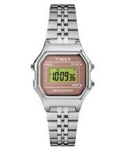 שעון דיגיטלי מלבני כסוף עם סטופר