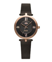 שעון נשים אלגנטי עם רצועת מש מושחרת